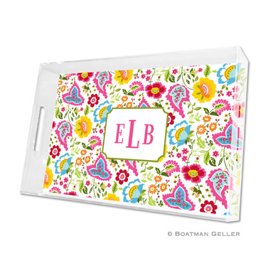 Lucite Tray - Bright Floral