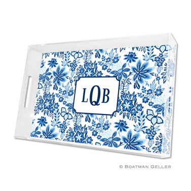 Lucite Tray - Classic Floral Blue