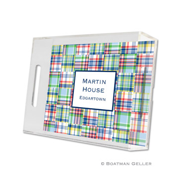 Lucite Tray - Madras Patch Bright